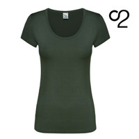 Bamboo T-Shirt with Scoop Neckline – Olive Grey