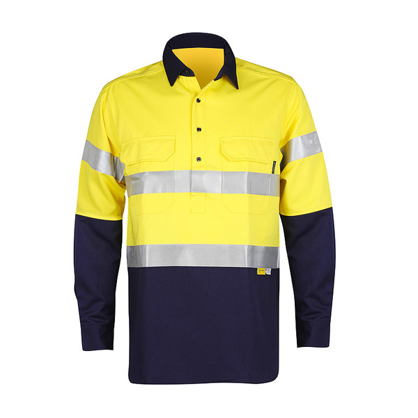 Men's Hi Vis Bamboo Work Shirt (310gsm) with Reflective 3M Tape - Front