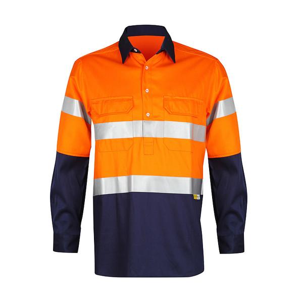 Men's 100% Bamboo Hi Vis Work Shirt (certified) with Reflective 3M Tape - Orange/Navy (1002M)