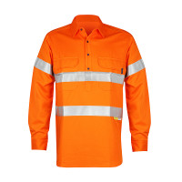 Men's 100% Bamboo Hi Vis Work Shirt (certified) with Reflective 3M Tape - Orange (1003M)