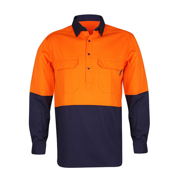 Men's 100% Bamboo Hi Vis Work Shirt (certified) - Orange/Navy (1004M)