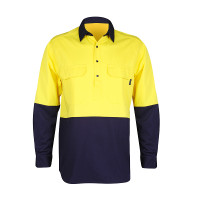 Men's 100% Bamboo Hi Vis Work Shirt (certified) - Yellow/Navy (1007M)