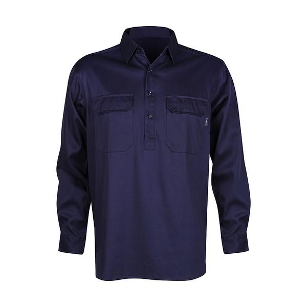 Men's 100% Bamboo Work Shirt (certified) - Navy (1006M)