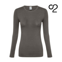 Long Sleeve Bamboo Top with Crew Neck - Grey