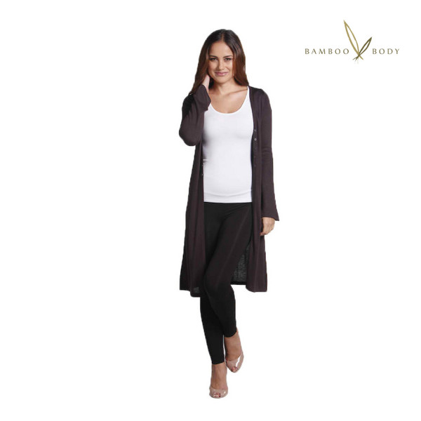 Bamboo Cashmere Extra Long Cardigan - Cocoa
