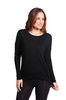 Womens Bamboo Clothing - Hi Lo Superfine Knit (Black - front)