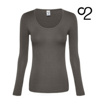 Long-Sleeved Bamboo Scoop Neck Top - Olive Grey