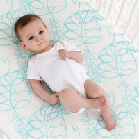 Bamboo Cot Sheets - Leafy (Azure)