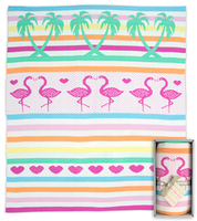 Weegoamigo Knitted Bamboo Baby Blanket - Flamingos