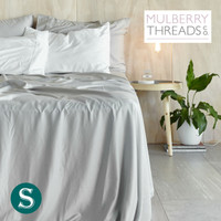 Bamboo Sateen Sheet Set by Mulberry Threads Co. - Platinum