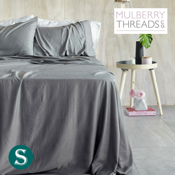 Bamboo Sateen Sheet Set by Mulberry Threads Co. - Steel