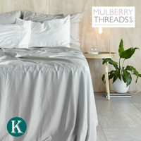 Sateen Sheet Set by Mulberry Threads Co. - Platinum