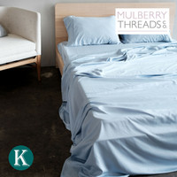 Sateen Sheet Set by Mulberry Threads Co. - Sky Blue