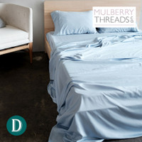 Bamboo Sateen Sheet Set by Mulberry Threads Co. - Sky Blue