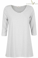 3/4 Sleeve Bamboo PJ Top - Grey and Cream Stripe