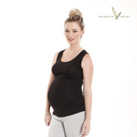 Ruched Bamboo Singlet - Black