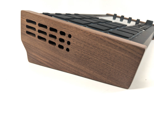 Wood Side Panel Tilt Stand - Akai MPC Live - Walnut Portable - SIde Angle