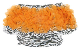 Zebra Diaper Cover with Orange Ruffles