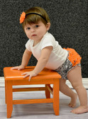 Orange Chiffon Ruffle on Zebra Print Cotton Diaper Cover