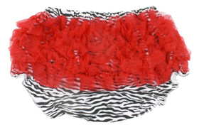 Zebra Diaper Cover with Red Ruffles