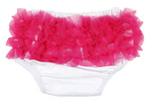 White Diaper Cover with Hot Pink Ruffles