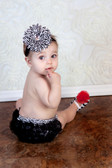 Zebra Print Diaper Cover with Black Ruffles (Accessories Sold Separately)