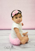 Diaper Cover Light Pink Chiffon Ruffles on White