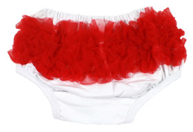 White Diaper Cover with Red Ruffles