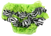Zebra Lime Green Satin & Lace Diaper Cover