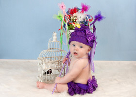 Purple Tulle Bow Lace Hat and Diaper Cover Set