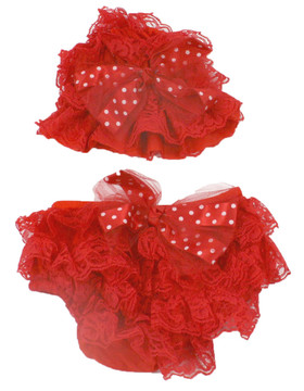 Red Tulle Bow Lace Hat and Diaper Cover Set