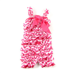 Hot Pink Chevron Satin Romper