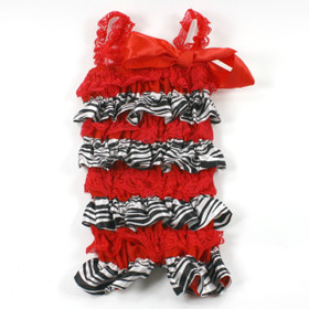 Zebra Red Lace & Satin Romper