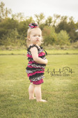 Lace & Satin Romper Damask, Hot Pink, and Black