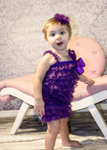 Lace Ruffle Romper in Purple