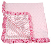 Light Pink Chevron Print Minky Baby Blanket
