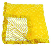 Yellow Chevron Print Minky Baby Blanket