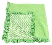 Lime Green Chevron Print Minky Baby Blanket