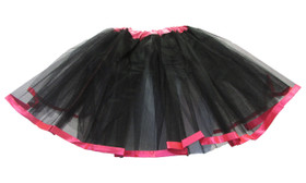 Black Hot Pink Ribbon Lined Dance Tutu