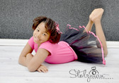 Ribbon Lined Dance Tutu Black Hot Pink