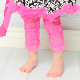 Hot Pink Lace Leggings for Girls