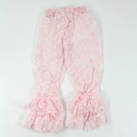 Light Pink Lace Leggings with Ruffles