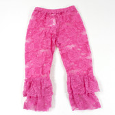 Hot Pink Lace Leggings with Ruffles