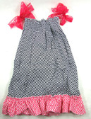 Black & Hot Pink Doll Chevron Dress with Ruffles