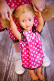 Black, Hot Pink with White Dots Doll Pillowcase Dress (Girl's dress available for purchase separately.)