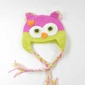 Lime Green & Pink Owl Animal Crochet Hat