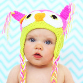 Pink & Lime Green Crochet Owl Hat
