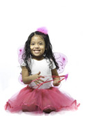 Dark Pink Butterfly Wings, Ribbon Lined Tutu, Butterfly Wand, and Marabou Hair Puff