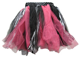 Zebra Hot Pink Shredded Tutu