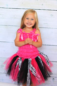 Zebra Hot Pink Shredded Tutu on a youth